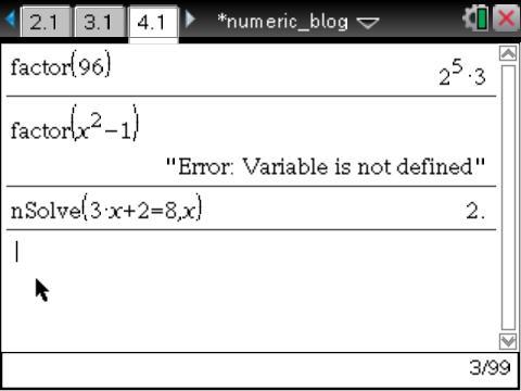 CAS vs. Numeric: TI-Nspire Summer Learning (1/6)