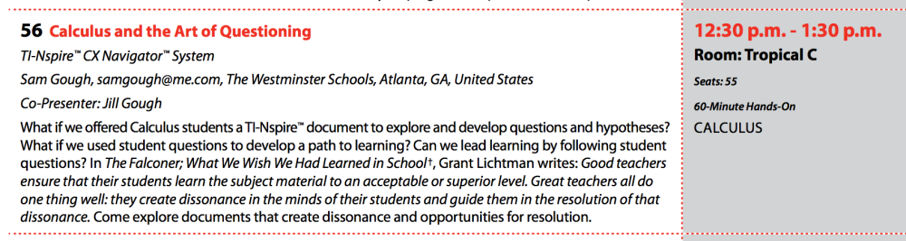 Calculus and the Art of Questioning - #NspiredatT3 (1/6)