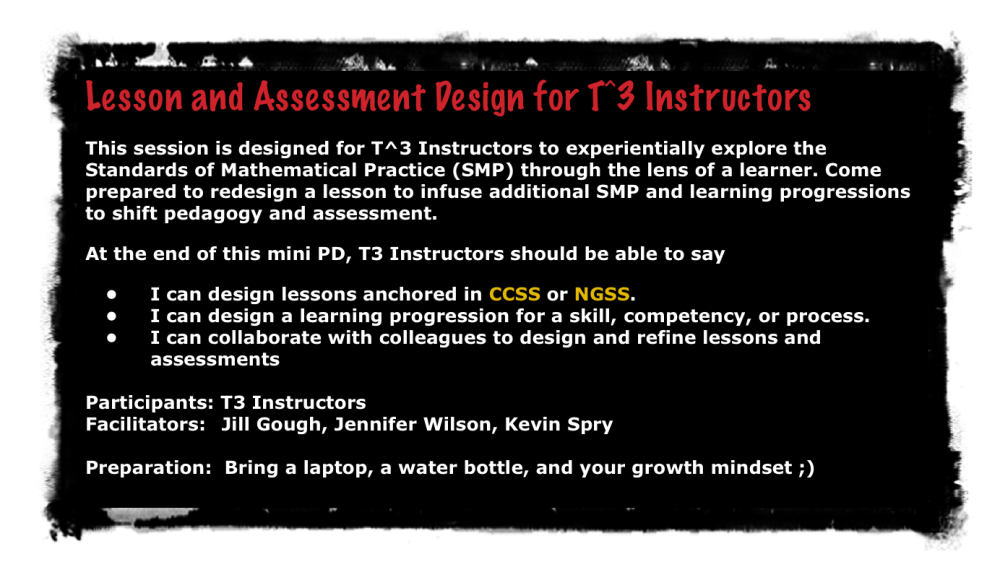 Lesson and Assessment Design - #T3Learns